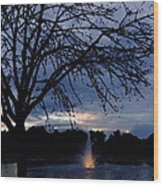 Evening Falls On Youth's Fountain Wood Print