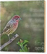 Evening Finch Greeting Card With Verse Wood Print
