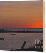 Evening Harbor Silhouette Wood Print