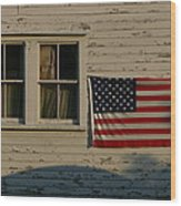Evening Light On An American Flag Wood Print by Stephen St. John