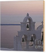 Santorini Greece Evening Light  Wood Print