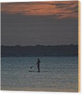 Evening Paddleboarder Wood Print