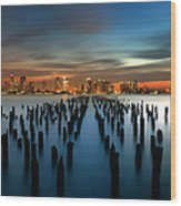 Evening Sky Over The Hudson River Wood Print