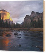 Evening Sun Lights Up El Capitan Wood Print