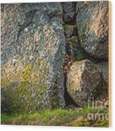 Evening Sun Rocks Wood Print