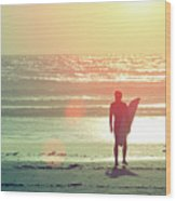 Evening Surfer Wood Print