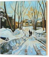 Evening Winter Walk Streets Of Montreal After The Snowstorm Wood Print