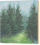 Evergreen Field Wood Print
