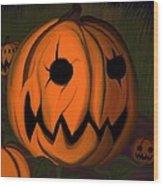 Evil Pumpkin Vine Wood Print by Andre Carrion