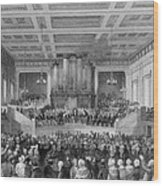 Exeter Hall Filled With A Large Crowd Wood Print by Everett