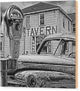 Expired A Black And White Photograph Of A Tavern Parking Meters And Vintage Junk Auto Wood Print