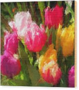 Expressionistic Spring Tulip Explosion Wood Print