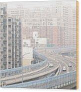 Expressway Through City Wood Print