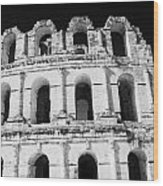 External View Of Three Upper Tiers Of Archways Of Old Roman Colloseum El Jem Tunisia Wood Print