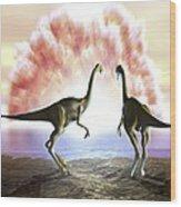Extinction Of The Dinosaurs, Artwork Wood Print by Jose Antonio PeÑas