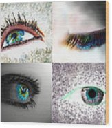 Eye Art Collage Wood Print