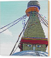 Eyes Of The Boudhanath Stupa  Nepal Wood Print