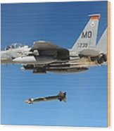 F-15 Strike Eagle Fighter Drops Wood Print