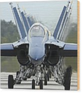 Fa-18a Hornets Assigned To The Blue Wood Print
