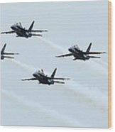 Fa-18a Hornets Fly In A Pyramid Wood Print