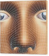 Face Biometrics Wood Print