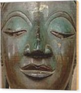 Face Of Bronze Buddha  Wood Print