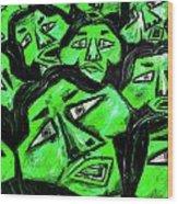 Faces - Green Wood Print