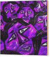 Faces - Purple Wood Print