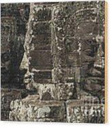 Faces Of Banyon Angkor Wat Cambodia Wood Print