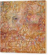 Faces On An Icon Wood Print by Pg Reproductions