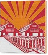 Factory Building Oil Drum Barrel Retro Wood Print by Aloysius Patrimonio