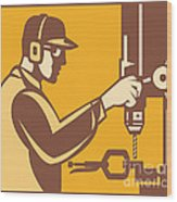 Factory Worker Operator With Drill Press Retro Wood Print