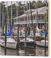 Fairhope Yacht Club Sailboat Masts Wood Print