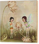 Fairies In The Garden Wood Print