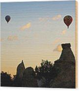 Fairy Chimneys And Balloons Wood Print