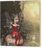 Forest Fairy Playing The Flute Wood Print