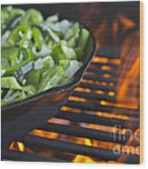 Fajita Cast Iron Skillet With Green Peppers Sizzling Hot Wood Print