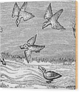 Falconry, 14th Century Wood Print