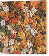 Fall Autumn Leaves On Water Wood Print