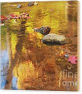 Fall Color In Stream Wood Print