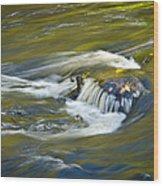 Fall Colors In River Rapids Wood Print