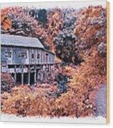 Fall Grist Mill Wood Print
