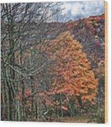 Fall Hiking Near Mountain Lake Wood Print
