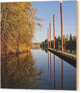 Fall Pier Wood Print