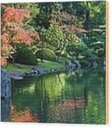 Fall Reflections Japanese Gardens Wood Print
