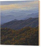Fall Sunset On The Blue Ridge Wood Print