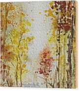 Fall Tree In Autumn Forest  Wood Print