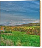 Fall Vermont Farm Wood Print by Mike Horvath