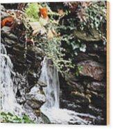 Fall Waterfall Wood Print
