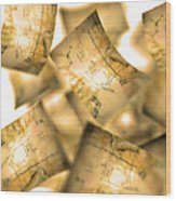 Falling Paper Documents, Artwork Wood Print